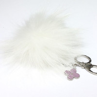 Fur Pom Pom keychain luxury bag charm pendant clover flower keychain keyring in pure white