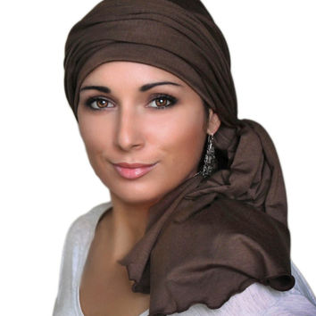 Brown Jersey Turban, Head Wrap, Alopecia Scarf, Chemo Hat and Scarf Set