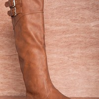 Qupid Bring It Proud-25 Flat Faux Leather Boots - Camel