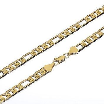 "Jewelry Kay style Men's 14K Gold Plated 6 mm / 30"" Cut Figaro Link Chain Necklace Solid Heavy"