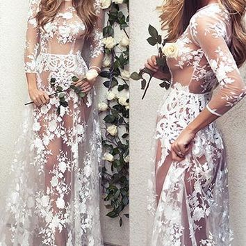 Transparent Lace Scoop Long Sleeves Long Dress