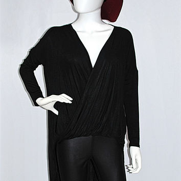 Favorite Black Twist Front High Low Tunic Top