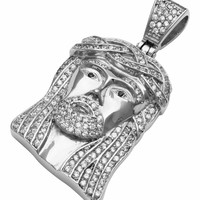 Mens Stainless Steel Silver Simulated Diamond Iced Out Hip Hop Bling Jesus Pendant