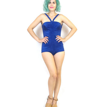 Vintage 1950s DONALD BROOKS Swimsuit Navy Blue One Piece Swimsuit Retro Pinup Ruched Backless Neiman Marcus Bathing Suit (XS/S)