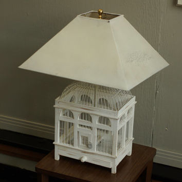 ON Sale! Vintage Shabby Chic Birdhouse Table Lamp Rustic White with Shabby Shade Cottage Chic ON SALE