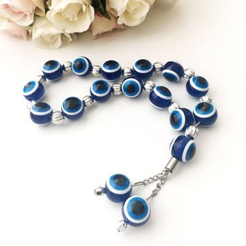 Greek Komboloi - evil eye beads - evil eye komboloi - sterling silver komboloi - nazar boncuk - turkish evil eye - greek beads