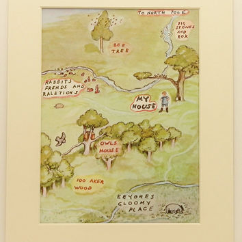 Winnie the Pooh's Map to Christopher Robins House, Vintage and Classic Map, Kids Wall Art (1 in a Series of 10)