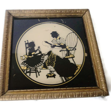 Vintage Reverse Painted On Glass Mother Daughter Silhouette