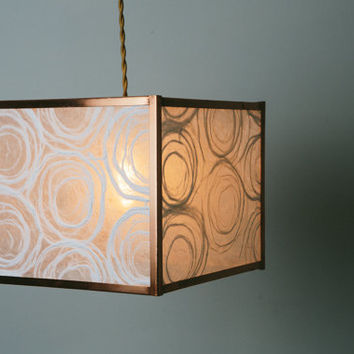 Copper Square Geometric Drum Shade - Mod Box with White Fiber Swirl Paper - Handmade Paper Lantern Hanging Pendant Lamp