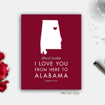 Personalized Alabama State Map Travel Poster