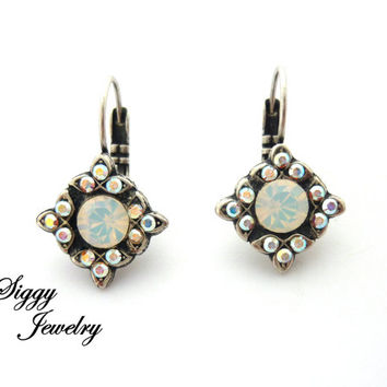 Swarovski crystal multi-stone earrings, white opal and AB, Flower earrings **ICE Diva Collection** Siggy Jewelry