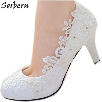 Sorbern White Lace Flower Wedding Shoes Slip On Round Toe Bridal cdc4006ae
