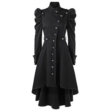 Vampire Gothic Military Button Up Stand Up Collar Winter Trench Coat