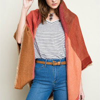 Red/brown blanket scarf
