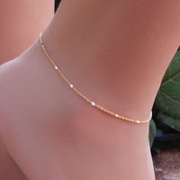 Ankle Bracelet, Simple Chain Anklet, Shiny Bar Stations with Double Link Chain