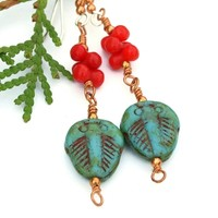 Turquoise Czech Glass Trilobite Artisan Earrings, Red Coral Handmade Jewelry