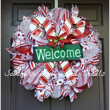Christmas Wreath, Christmas Deco Mesh Wreath, Holiday Wreath, Merry Christmas, Christmas Decor, Holiday Decor, Christmas Door Hanger