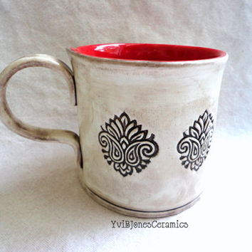 Ceramic Mug, Made to Order, Red Folk Tulip Handbuilt Large Coffee Cup Pottery Mug, Ceramic Mug, Art, Tea, Milk, Cocoa 16 oz, hand crafted
