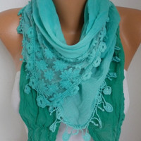 Spring Mint Ombre Scarf Summer Scarf Oversized Wrap Shawl Cowl Bridesmaid Gift Gift Ideas for Her Women Fashion Accessories Women Scarves