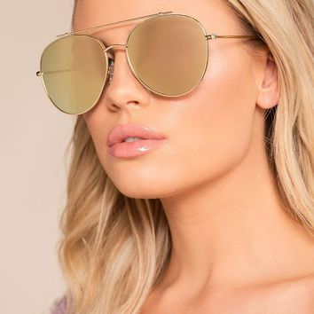 Reflections Of You Gold Mirrored Aviator Sunglasses
