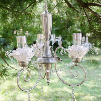 Georgina - Romantic, whimsical, solar chandelier for garden or wedding