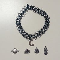 Tattoo Choker with Charm Pendant Choose your own: Saturn Planet, Sun, Moon, Elephant, Pineapple