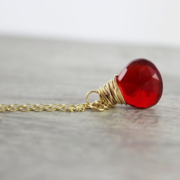 Bright Red Necklace, Cherry Red Necklace, Quartz Gemstone Pendant, Wire Wrap Necklace, Dainty Gold Necklace, Ruby Red Necklace