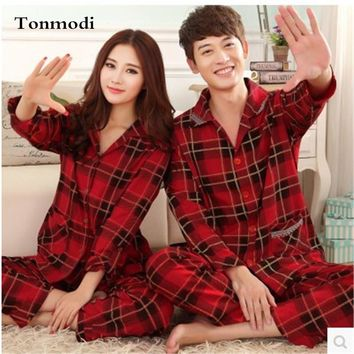 Women's Pajamas Spring And Autumn Ladies Pyjamas Love Men Sleepwear Cotton Plaid Pajamas Women Couples Wedding Pajama Sets 3XL