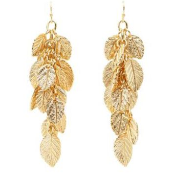 Dangling Golden Leaf Earrings by Charlotte Russe - Gold