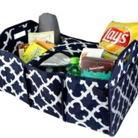 Navy Geometric Personalized Trunk Utility Bag with Insulated Cooler  Trunk Organizer  Car Organizer   Christmas Gift
