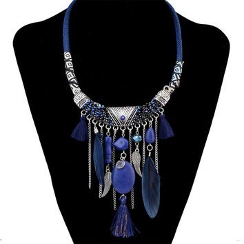 2 Colors Bohemian Fashion Statement Necklace Rope Leather Chain Resin Beads Natrual Stone Feather Tassel Necklace Women Jewelry