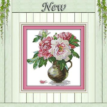 The peony vase flowers decor painting counted print on canvas DMC 11CT 14CT kits chinese Cross Stitch embroidery needlework Sets