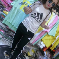 """Adidas"" Fashion Casual Stripe Pattern Letter Print Short Sleeve Set Two-Piece Sportswear"