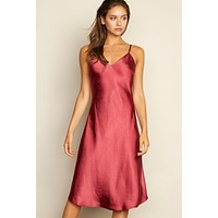 Satin Slip Midi Dress - Burgundy