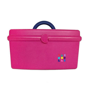 1980s Caboodles Hot Pink Makeup Case / Vintage Fuchsia Cosmetic Storage Box with Mirror, Removable Tray / Fun Retro Container