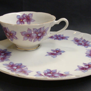 Purple Violet Snack Sets  Lefton China Hand Painted