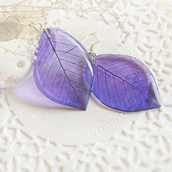 Purple earrings for wife birthday gift for aunt niece gift Summer leaves earrings Violet jewelry Woodland earrings Nature lover gift for her