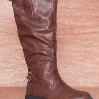 Refresh Roam The Road Buckled Faux Leather Riding Boots Pace-02 - Brown