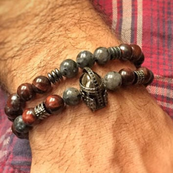 Natural look men bracelet set, boho bracelets with tibetan agate natural stone beads with copper plated artow head and coconut,