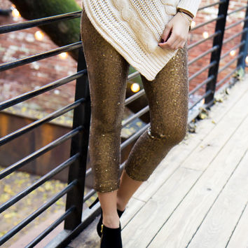 Glam It Up Sequined Leggings - Gold - Final Sale