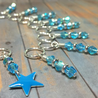 Blue Star Stitch Marker Set for Knitting