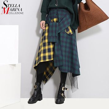 2017 Winter Women Irregular Plaid Skirt Blue Yellow Contrast Color Elastic Waist Mid Calf Length Skirts Special Boho Style 3012