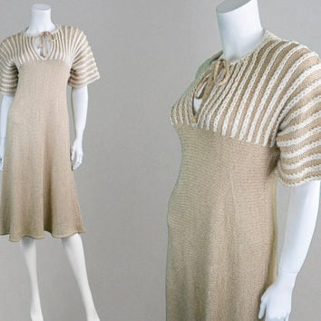 Vintage 70s MARY FARRIN Knit Dress Cable Knit Sweater Dress Jumper Dress Boho Dress Womens Knitwear Midi Dress Slinky Dress British Boutique