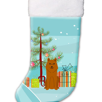 Merry Christmas Tree Karelian Bear Dog Christmas Stocking BB4147CS