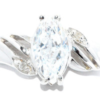 2 Carat Zirconia Marquise Diamond Ring .925 Sterling Silver Rhodium Finish White Gold Quality