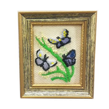 Butterflies Vintage Crewel Picture, Butterfly Decor, Framed Needlepoint, Small Embroidery, Vintage Collage Wall, Nature Art, Flowers, Floral