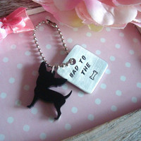 Hand Stamped Bad To The Bone Black Chihuahua by Wonderfullmoments6