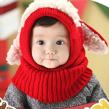 Hats For Girls Children Kids Winter Baby Caps Hat and Scarf Winter Beanie Warm Hat For Girls Hooded Scarf Ear flap Knitted Cap