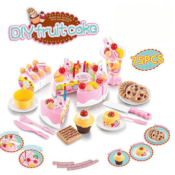 75Pcs Kitchen Toys Pretend Play Cutting Birthday Cake Food Toy Kitchen For Children  Cocina De Juguete Plastic Play Food Tea Set