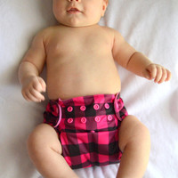 Hot Pink and Black Buffalo Check with Pink Microfleece OS Pocket Cloth Diaper, One Size, PUL, Waterproof, Cover, AI2